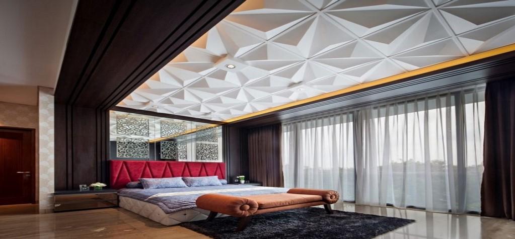Faux plafond design relief lit tapis sol pierre copier for Faux plafond chambre enfant