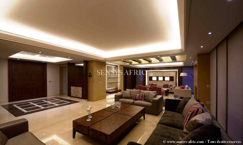 Idee deco plafond chambre for Salon faux plafond